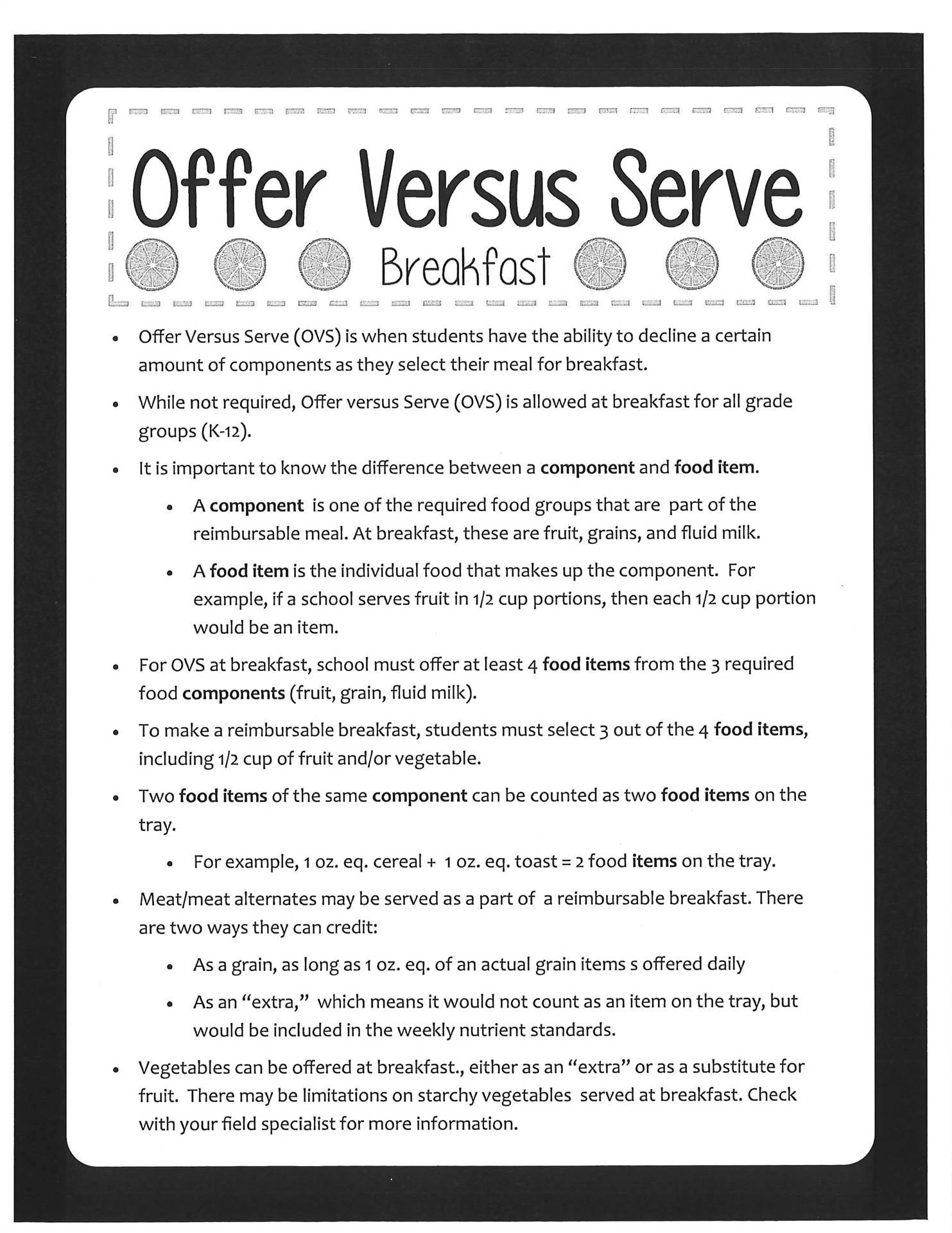 Offer Versus Serve Breakfast