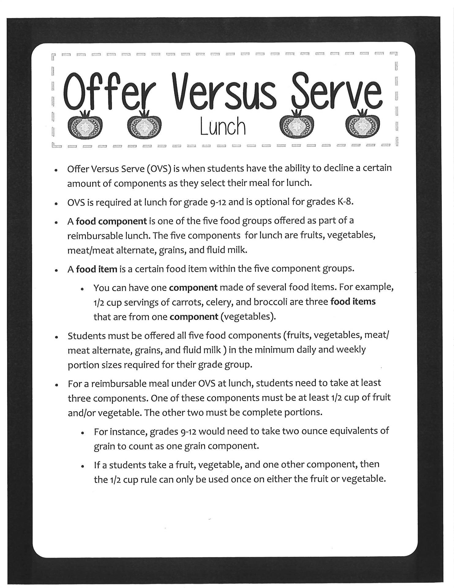 Offer Versus Server Lunch